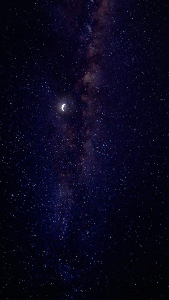 Звёздное небо с луной